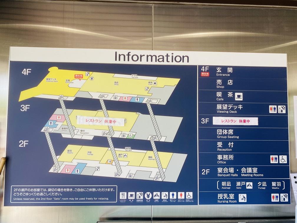 鷲羽山展望台 レストハウス案内図