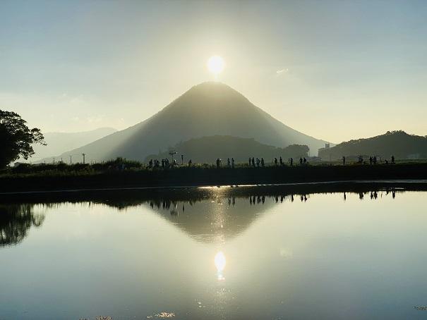 中原池のダブルダイアモンド富士