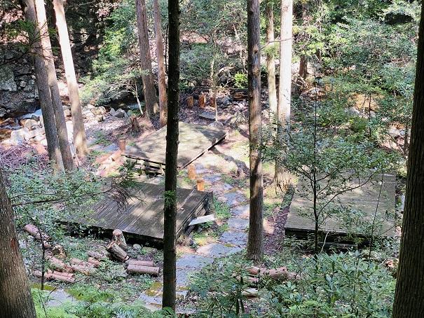 薬師谷渓谷 旧道から見たキャンプ場